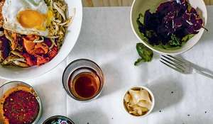 Brown Rice Bibimbap Bowls with Smoky Peppers Recipe | The New Vegetarian
