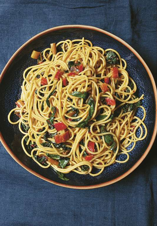 Nigella Lawson's Spaghetti with Chard, Chilli, and Anchovies