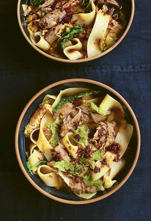 Nigella Lawson's Wide Noodles with Lamb Shank in Aromatic Broth