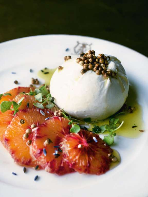 Ottolenghi's Burrata with Blood Orange, Coriander Seeds and Lavender Oil