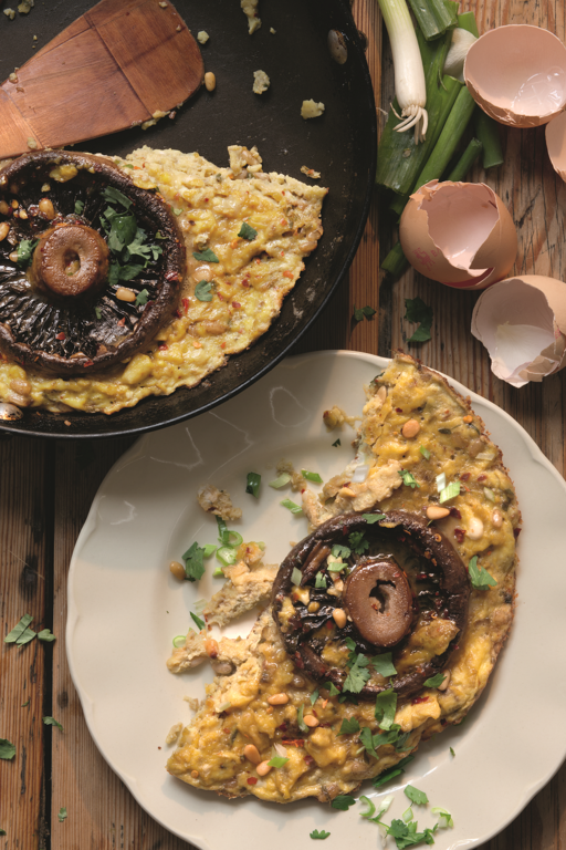 Spiced Mushroom and Pine Nut Omelette