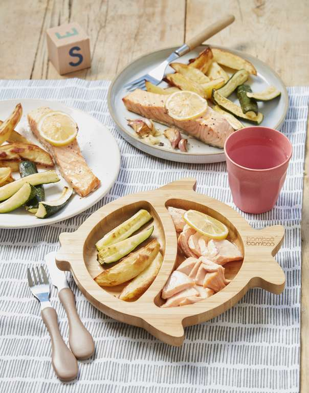 One-Pan Lemon Salmon with Courgette and Potato Wedges