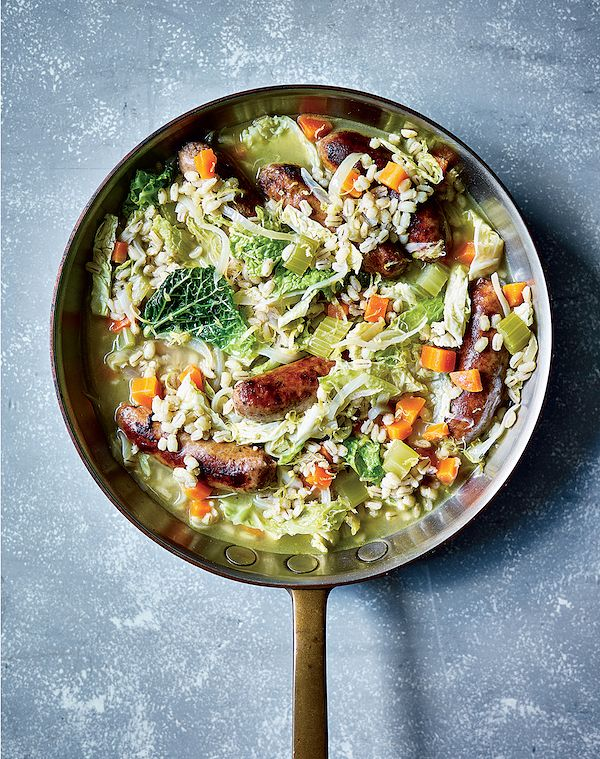 easy recipes for christmas period sausage and pearl barley stew one pan 100 brilliant meals