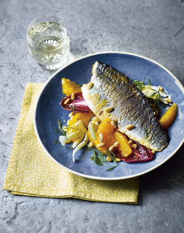 Sea Bass with Baby Fennel and Orange Salad
