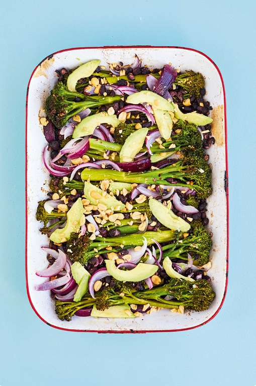 Charred Tenderstem with Black Beans, Avocado and Peanuts