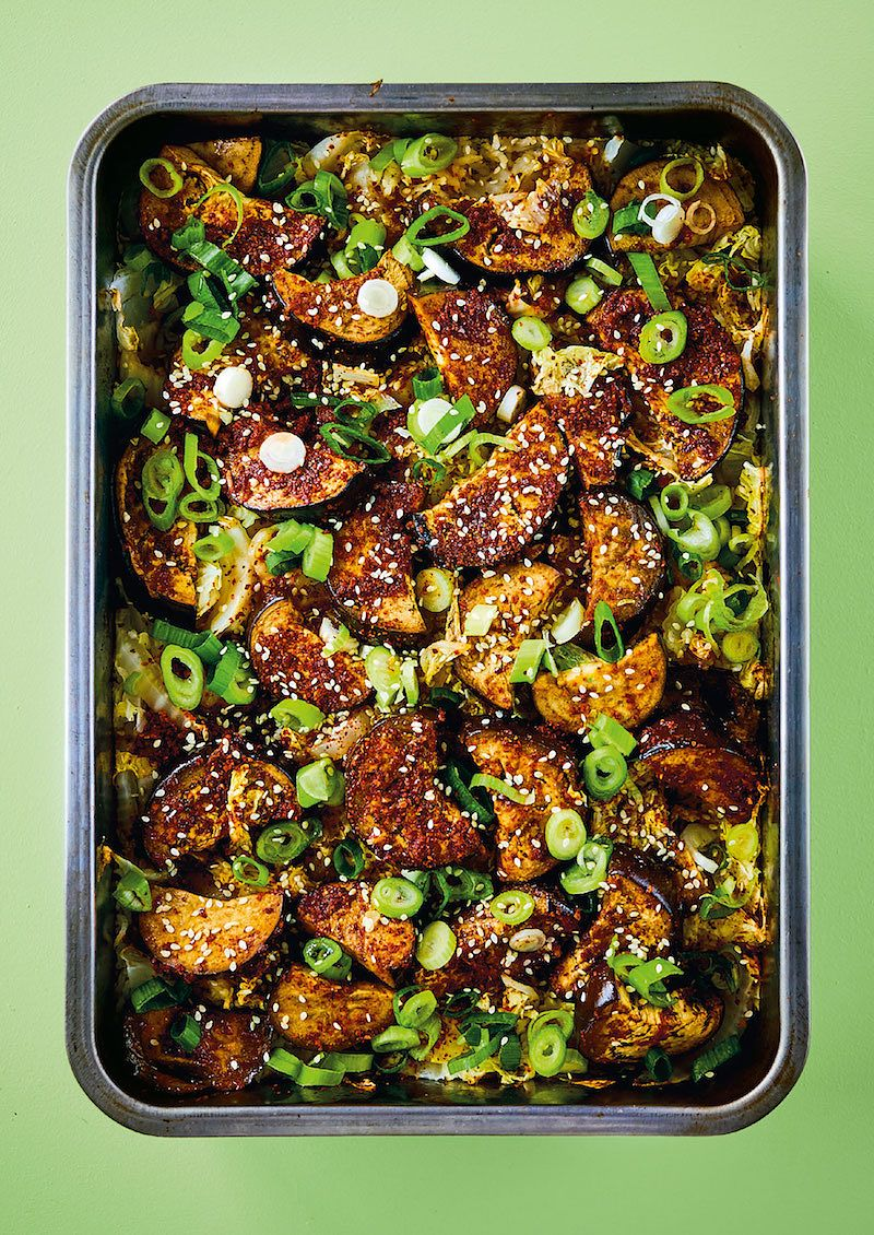 best recipes of 2020 One-tin Korean-style AuberginesfromThe Roasting Tin Around The World by Rukmini Iyer