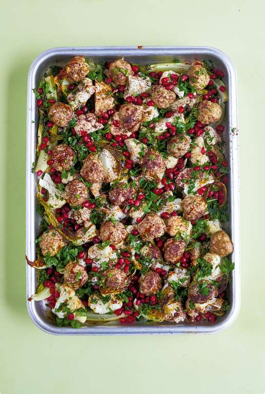 Spiced Lamb Meatballs with Sumac Roasted Cauliflower and Pomegranate