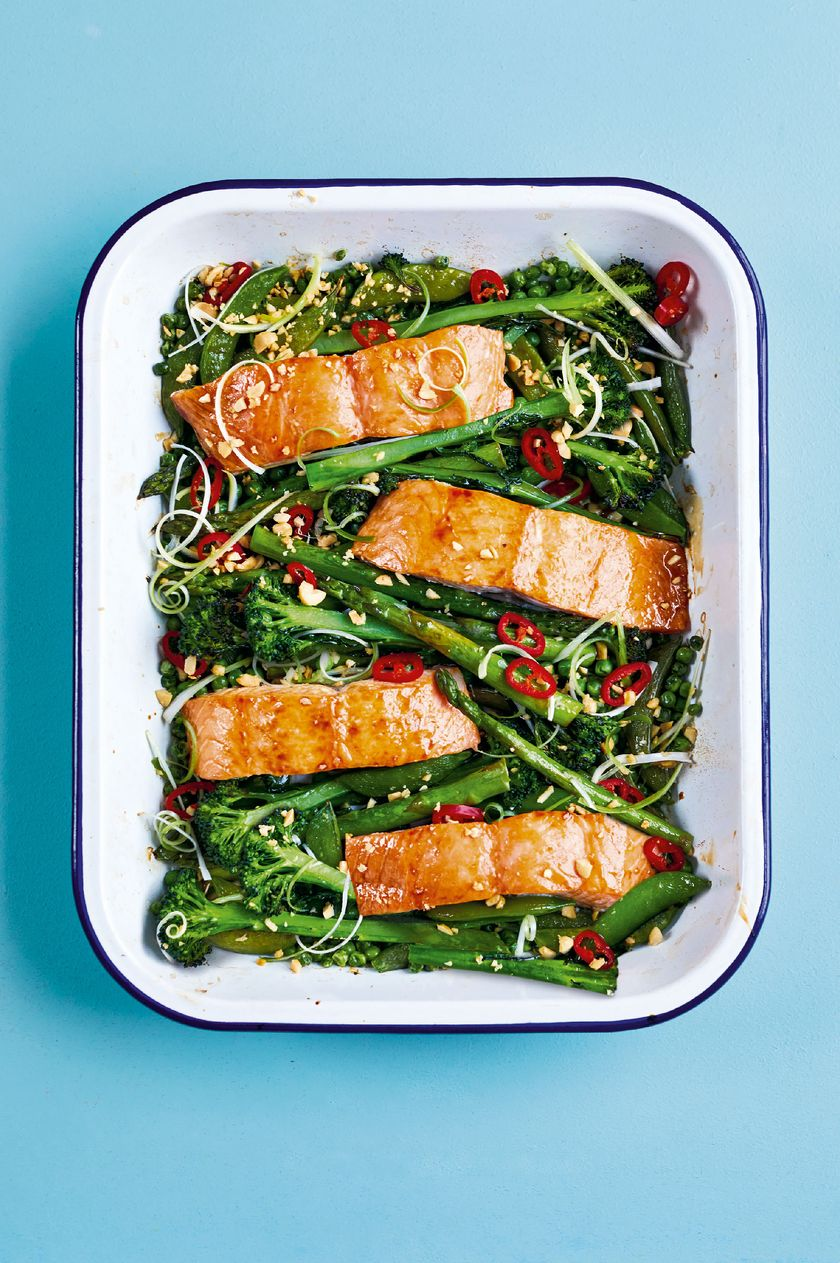 10 Quick & Healthy One Tray Oven Recipes from The Quick Roasting Tin - sticky soy and roasted salmon
