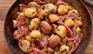 Salami and Mushroom Hash