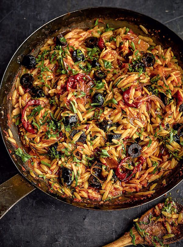 orzo recipes Red Orzo Risotto with Goat's CheesefromOne Pot Wonders by Lindsey Bareham