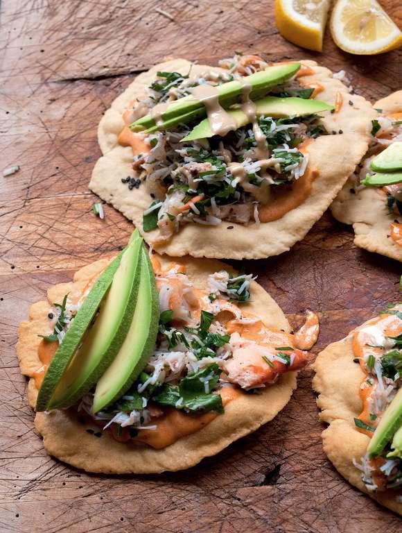 Sumac Crab and Avocado with Tahini Dressing