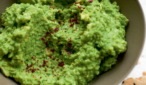 Crushed Broad Beans and Avocado with Parmesan and Sumac Biscuits
