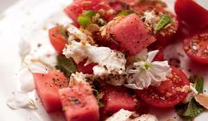 Watermelon and Cherry Tomato Salad with Feta, Almond and Za'atar Crumble