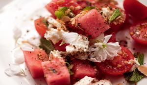 Watermelon and Cherry Tomato Salad with Feta, Almond and Za'atar Crumble
