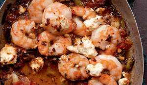 Chilli-Scented King Prawn and Feta Guvech