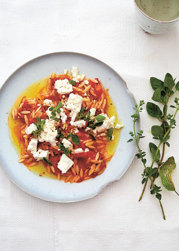 orzo recipes Orzo Pasta, Spicy Tomato Sauce & FetafromDucksoup Cookbookby Clare Lattin and Tom Hill