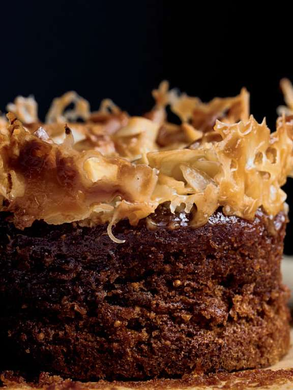 Sticky Fig Pudding with Salted Caramel and Coconut Topping