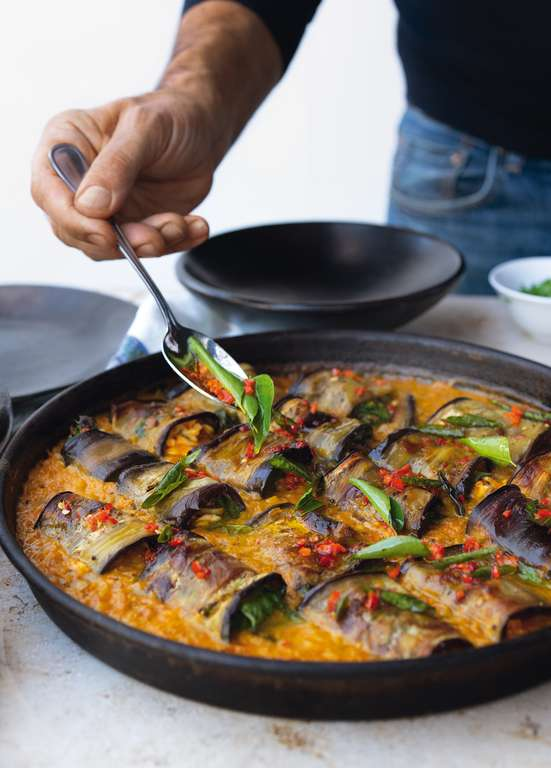 Yotam Ottolenghi's Stuffed Aubergines in a Curry and Coconut Dal