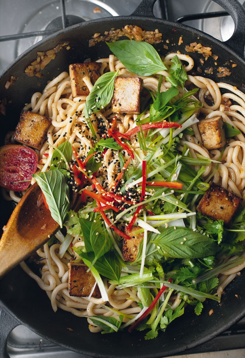 Udon Noodles with Fried Tofu and Orange Nam Jim from Ottolenghi FLAVOUR