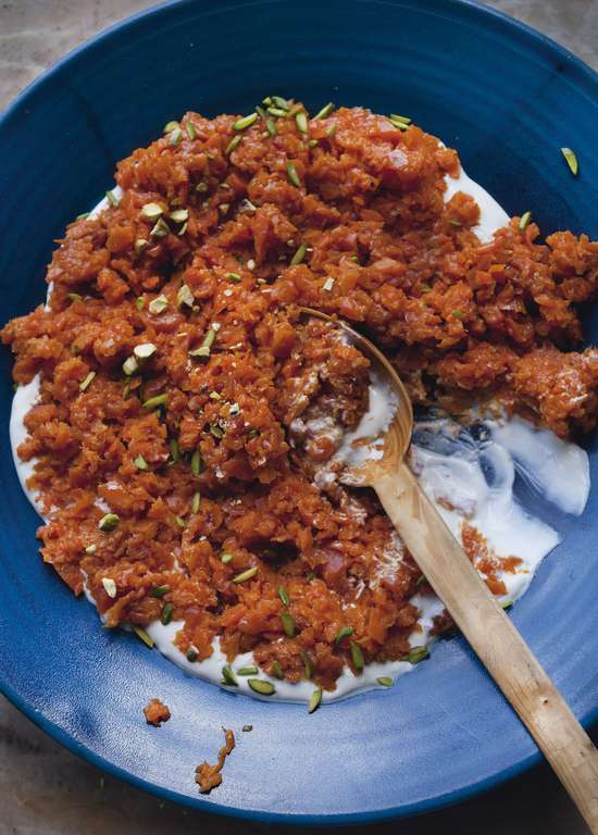 Yotam Ottolenghi's Crushed Carrots with Harissa and Pistachios