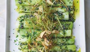 Ottolenghi Leeks with Miso and Chive Salsa | Vegetable Side Dish