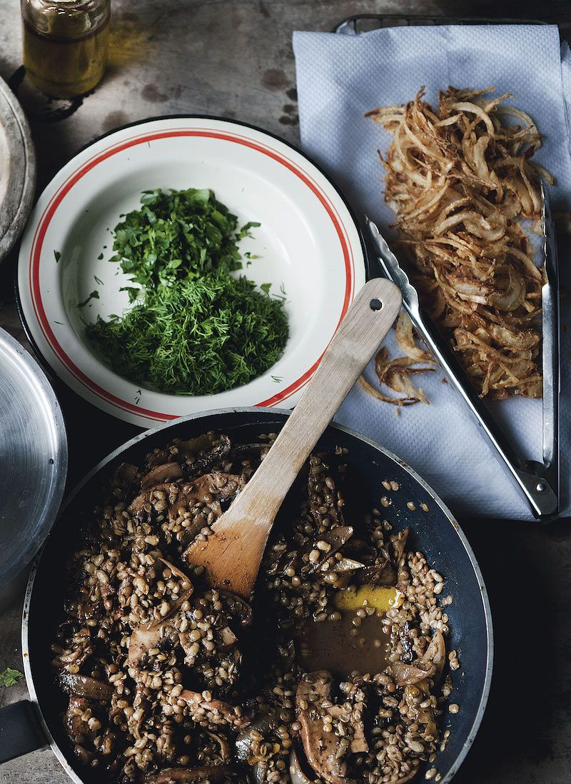 ottolenghi mushroom recipes Pot Barley and Lentils with Mushrooms and Sweet Spices plenty more