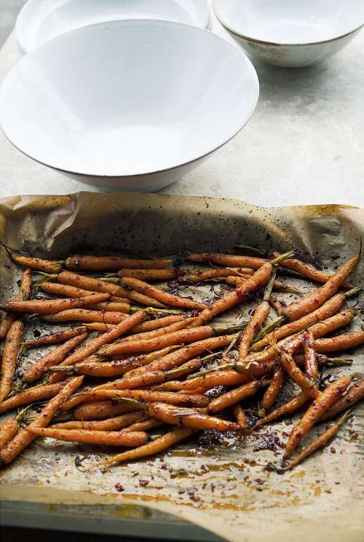 Ottolenghi's Roasted Baby Carrots with Harissa and Pomegranate