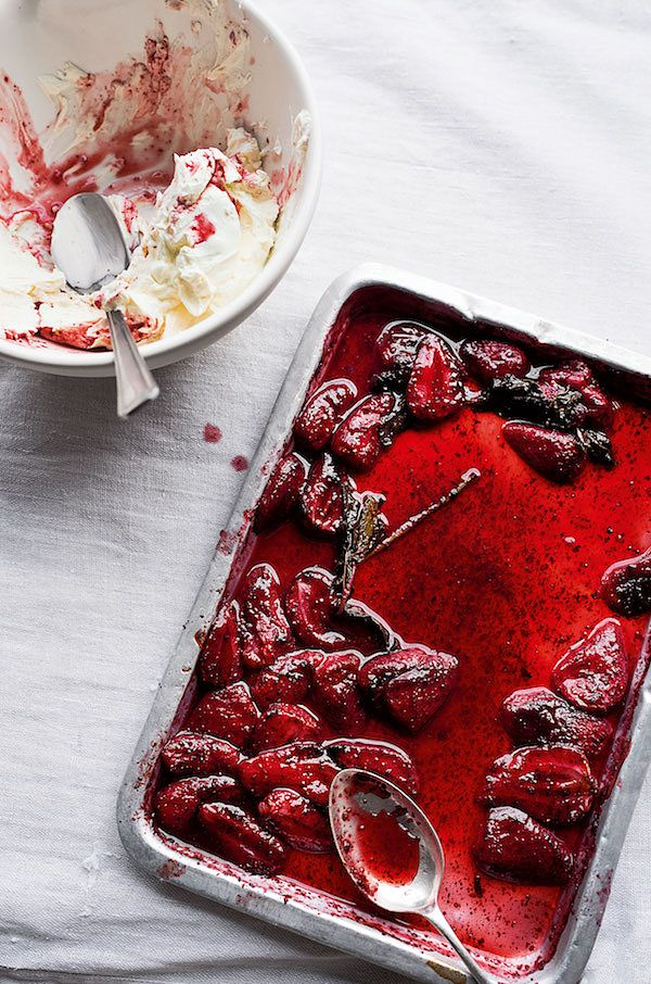 best spring recipes sumac roasted strawberries yoghurt cream ottolenghi simple