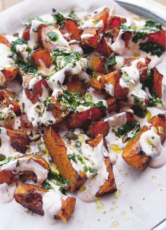 Ottolenghi's Squash with Chilli Yoghurt and Coriander Sauce