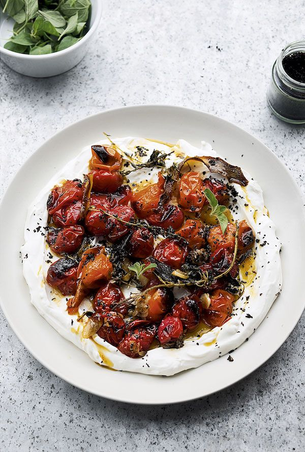 tomato recipes hot charred tomatoes with cold yoghurt ottolenghi