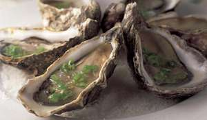 Oysters with sauce mignonette