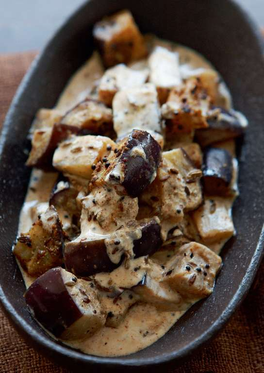 Aubergine Cooked with Crushed Mustard Seeds and Yoghurt
