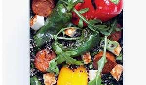 Padron Pepper, Chorizo and Halloumi Salad   Spanish Salad Recipes