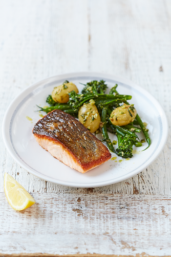 Salmon & Pesto-dressed Vegetables from Jamie Oliver's Food Revolution