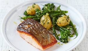 Salmon & Pesto-dressed Vegetables from Jamie Oliver's Food Revolution