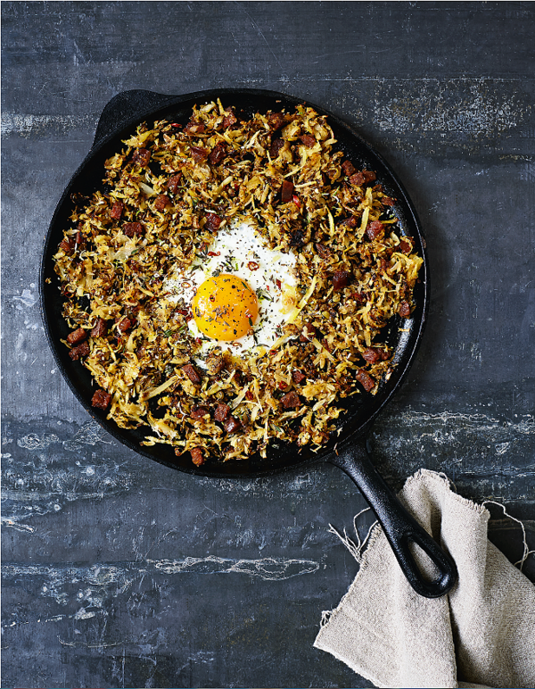 http://thehappyfoodie.co.uk/recipes/parsnip-chorizo-hash-with-lime-thyme-and-fried-eggs