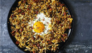 Parsnip Chorizo Hash with Lime, Thyme and Fried Eggs