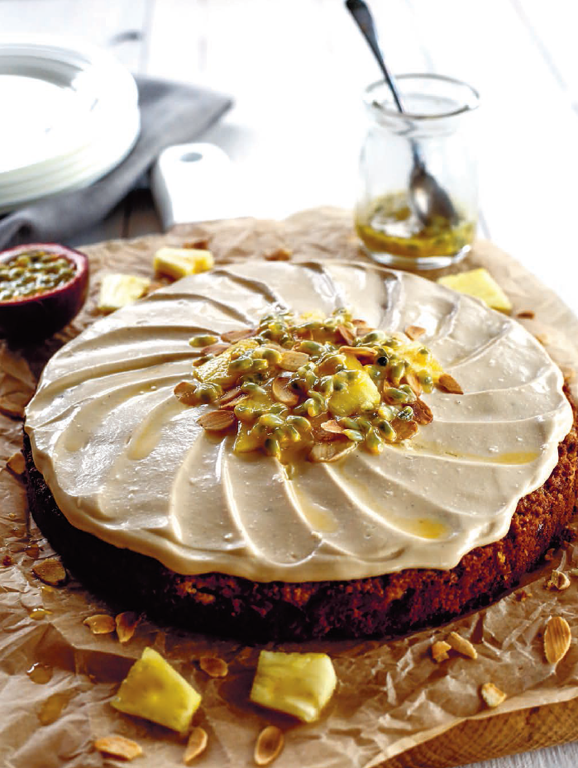 Pineapple Carrot Cake with Passionfruit Coconut Frosting