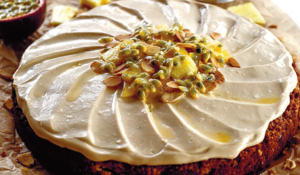 Gluten and dairy free Pineapple Carrot Cake with Passionfruit Coconut Frosting