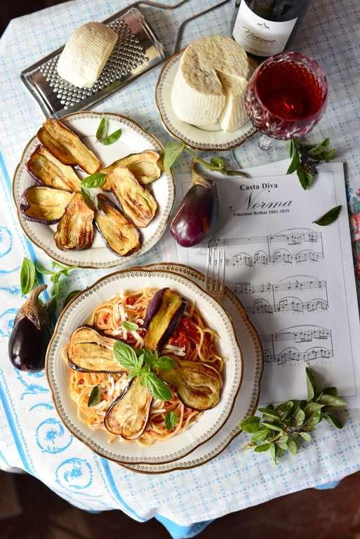 Pasta with Tomato, Aubergines and Ricotta Salata. Pasta alla Norma e Ricotta Salata