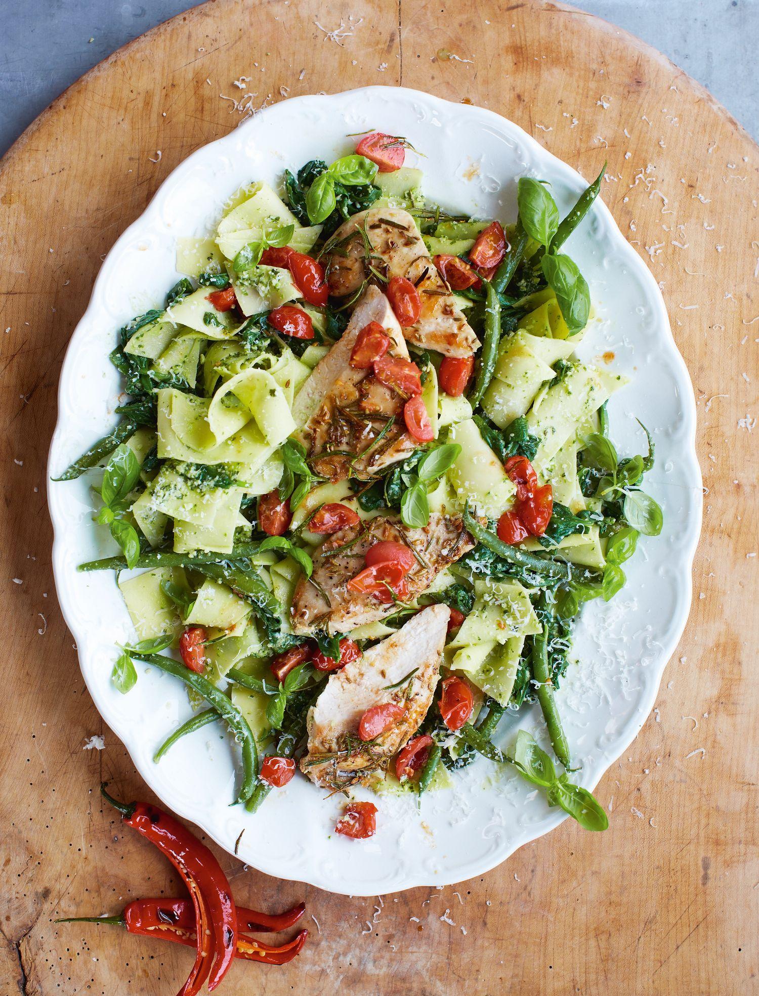 Pasta Pesto, Garlic and Rosemary Chicken - The Happy Foodie