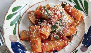 Rigatoni with Tomatoes, Ricotta Salata and Basil