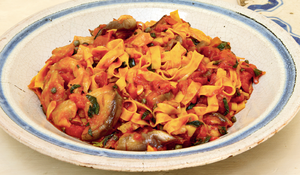 Tagliatelle with Aubergines, Tomato and Basil