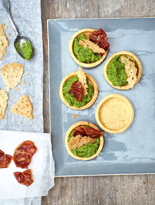 best christmas canapes recipes pea puree and ham tartlets great british bake off
