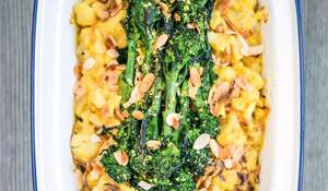Cauliflower Cashew Cheese with Purple Sprouting Broccoli