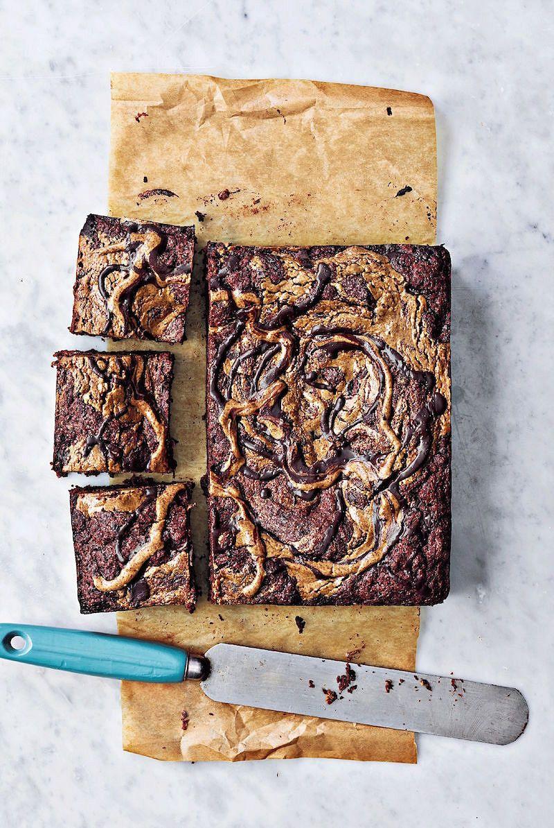 show stopping vegan desserts Peanut Butter Swirl BrowniesfromOne Pot Vegan by Roxy Pope & Ben Pook