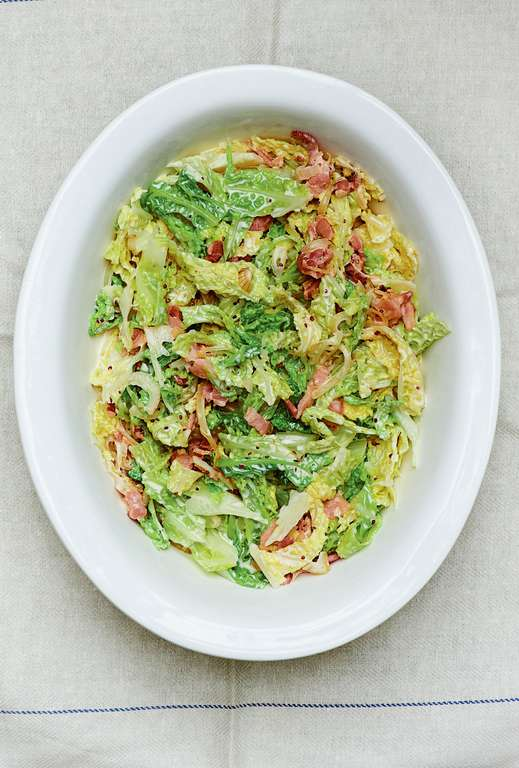 Savoy Cabbage and Bacon Gratin