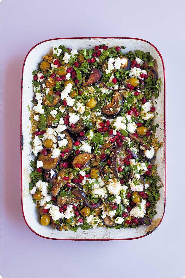 packed lunch recipes aubergine feta bulgur wheat traybake the quick roasting tin