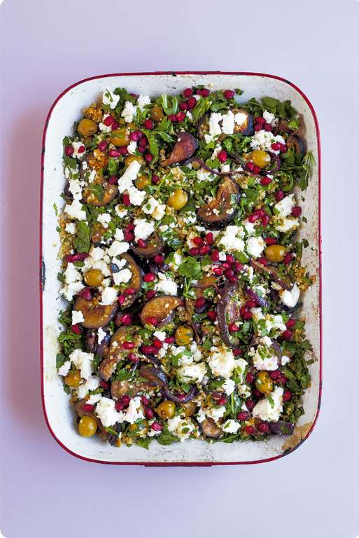 Cinnamon-spiced Aubergines with Feta Cheese, Olives and Herbed Bulgur Wheat