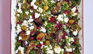 Spiced Aubergines with Feta and Pomegranate | Easy Traybake Recipe